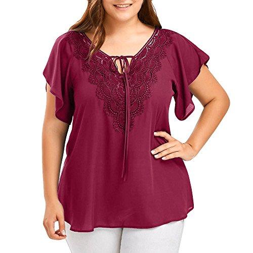 Damen T-Shirt, MOIKA Übergroßes ärmelloses T-Shirt mit Spitzennähten Wein