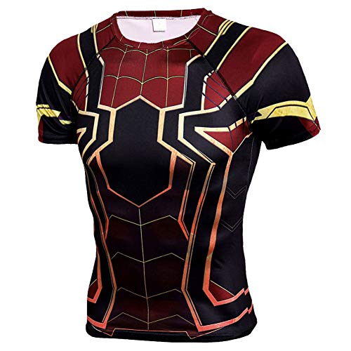 PKAWAY Mens Short Sleeve Compression Workouts Shirt Spiderman Cosplay Costume 3XL -