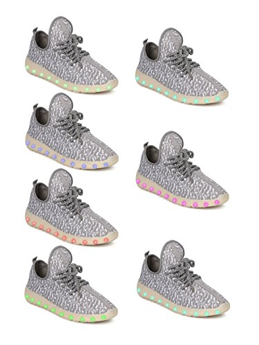 Kids Fabric Two Tone Lace Up Light Up Chargeable Jogger Sneaker GF45 - Grey (Size: Big Kid 4) by Link (Image #5)