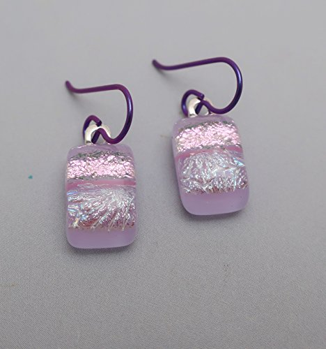 Cute Petite dangle fused lavender pink dichroic glass drop earrings niobium ear wires (Glass Jewelry Fused Dichroic)