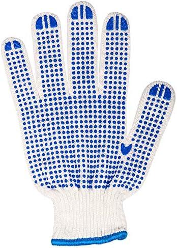 労働保護作業用手袋 労働保険手袋滑り止め耐摩耗性プラスチック肥厚作業用手袋、24ペア (Color : Blue, Size : L)