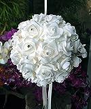PaperLanternStore.com 10'' White Foam Kissing Ball w/Rhinestones