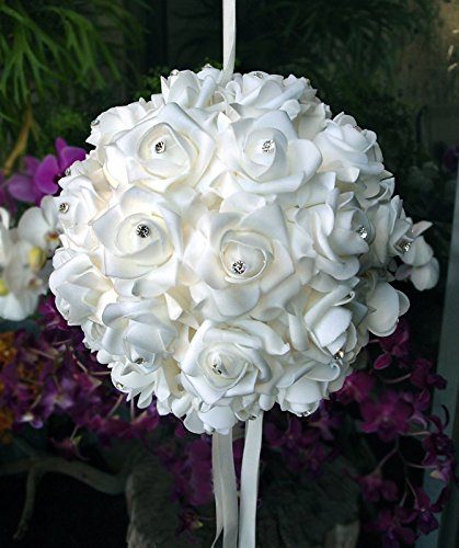 - PaperLanternStore.com 10 Inch White Foam Kissing Ball w/Rhinestones