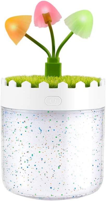 Jevogh JR05 Landscape Cup humidifier, 300ml Air Purifier with LED Color Light for Home, Office, White
