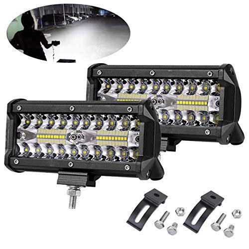 7 Inch LED Light Bar Sammanlight 2pcs 240W 6000K Offroad Pods Fog Lights Spot Flood Combo Waterproof Driving Work Light for Truck UTV ATV Jeep Boat, 1 Year Warranty