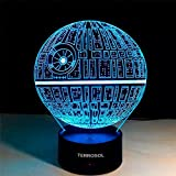 3D Illusion Platform Star Wars Night Lighting,Terrosol Touch Botton 7 Color Change Decor LED Lamp