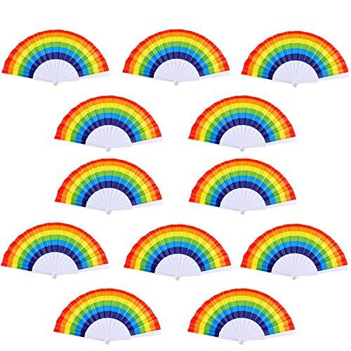 TKMOS 12 Pack Rainbow Folding Fans Colorful Hand Held Fan, Rainbow Party Decoration Hand Folding Fans for Women/Men