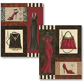 Fashion Collage; Purse, Shoe, Dress Retro Prints; Two 11x14 Posters