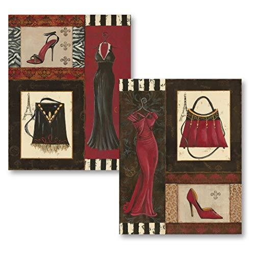 Fashion Collage; Purse, Shoe, Dress Retro Prints; Two 11x14 Posters (Sophie Wastebasket)
