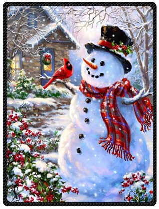 Funny Winter Holiday Merry Christmas Happy Snowman and Cardinals 58