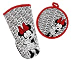 Disney Kitchen Puppet Oven Mitt/Glove and Circle Potholder Set w/Neoprene for Easy Non-Slip Gripping- Protect Your Hands in The Kitchen - Heat Resistant Kitchen Accessories- Minnie Mouse Dots