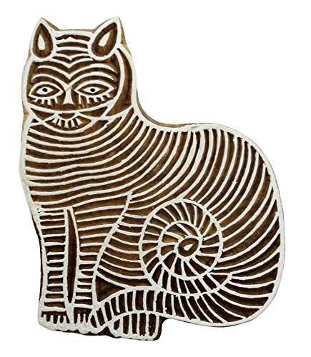 Wooden Cat Block Decorative Hand Carved Printing Blocks Indian Stamps