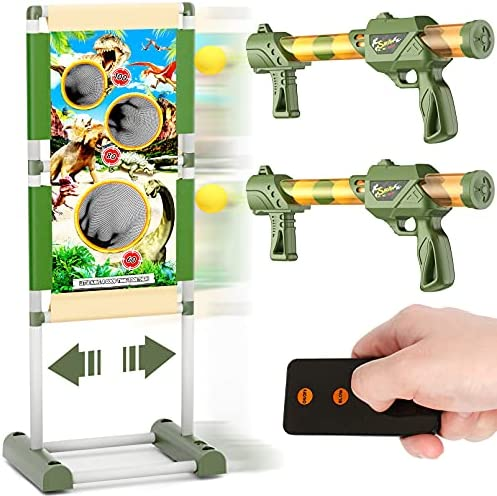 Toy Gun Gift for Boys Age of 4 5 6 7 8 9 10 11 12 Years Old kids Girls,Remote Control Shooting Game Toys with moving target,2 Foam Ball Popper Air Guns & 24 Foam Balls Compatible with Nerf Toy Guns