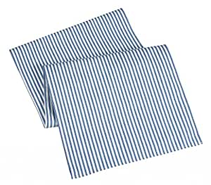 Table Runners Blue Striped Table Runner Cotton Ticking 72""