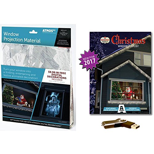 AtmosFEARfx Christmas Digital Decorations Kit Includes AtmosFX 4 ft x 6 ft Projection Screen + AtmosCHEERfx Christmas Video (Christmas Playlist on USB)