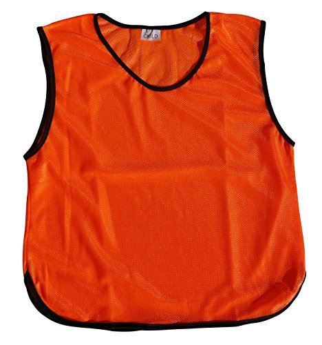 Polyester Training Bibs (6 Youth Practice Jerseys, Pinnies, Bibs 100% Polyester for Ages 5-9 and 10-15 (Bright Orange, Kids - 5-9))