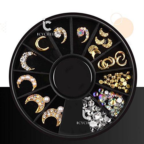 ICYCHEER Nail Art Gold Metal Mix Forma 3D Decoración Tachuelas AB Color Rhinestone Joyería Remaches DIY Uñas Consejos Ever.Grace