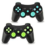 2pcs Pack Wireless Double Vibration Controller Bluetooth Sixaxis Gamepad Remote Compatible with Sony Playstation 3 (Blue-Green)