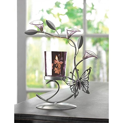 Candles BUTTERFLY LILY CANDLEHOLDER Candle Light Votive Tealight Silver Metal Iron Glass Shimmer Table Desk Bar Flowers Lilies