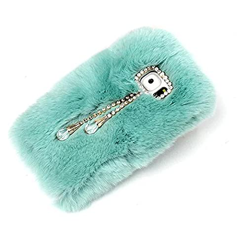 For Samsung Galaxy Note 4 Case,Rejected all traditions Fashion Bling Diamond Rhinestone Furry Rabbit Fur Shiny Pendant Design Plush Fluffy Soft Warm Case Cover - Light (Note 4 Case Of Rats)