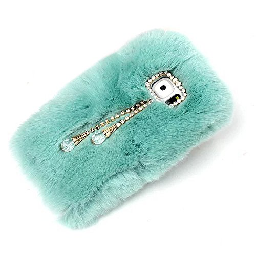 Rabbit Bowknot (Fuzzy Green Limited® Luxury Women Girly Bling Diamonds Bowknot with Lovely Pendant Design Fluffy Soft Warm [Genuine Rex Rabbit Fur] Case Back Cover for Samsung Galaxy S6 Edge Plus - Light Blue)
