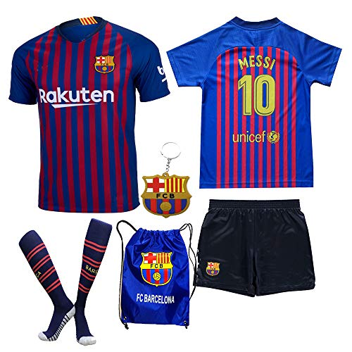 Barcelona Messi Suarez Coutinho 2018 19 Kid Youth REPLICA Home Jersey Kit : Shirt, Short, Socks, Bag, PVC Key (Please Check Sizing Measurements!!!) (L. Messi, Size 28 (11-12 Yrs Old Approx.) ) (Shirt Home Kit)