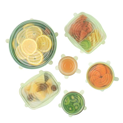 Silicone Stretch Lids 2018 Upgrade Version(Set Of 6),Reusable Durable Food Covers,Easier To Storage,Expandable To Fit Various Sizes and Shapes,Keep Food Fresh Dishwasher Freezer Safe