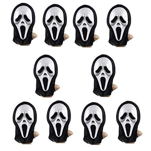 Pukido Lot 10pcs Halloween Cosplay Party Full Face Mask Props Horror Screaming Mask Final Destination Mask Wholesale - (Plug Type: full face mask) ()