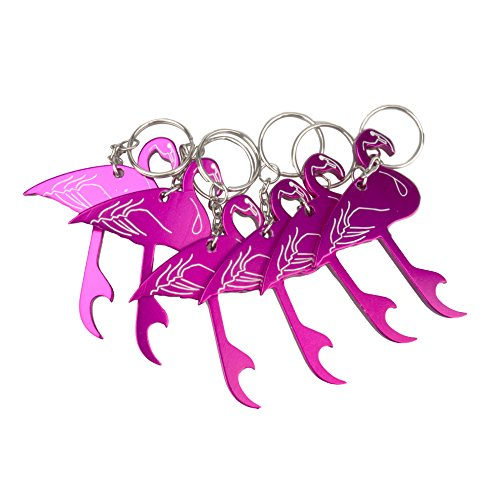 Swatom Flamingo Bottle Opener Keychain, Key Tag Chain Ring Wedding Gifts, 6 Piece