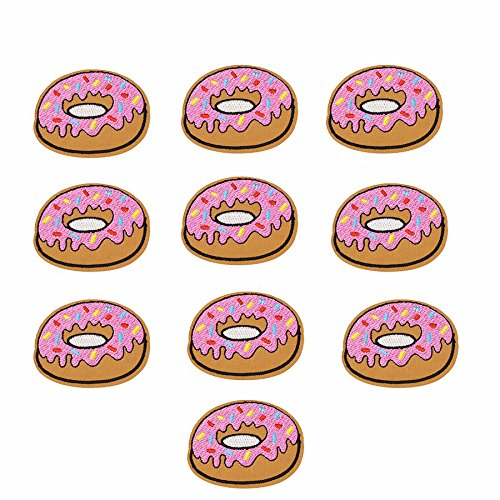 Yalulu 20 Pcs Pink Donuts Pattern Embroidered Iron On / Sew On Badge Applique Patch For Clothing (Patch Donut)