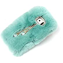DStores Luxury Bling Handmade Diamond Bowknot Fluffy Rabbit Smooth Soft Touch Fur Light Composite Case with Lovely Pendant for SSamsung Galaxy Note 4 - Light Blue