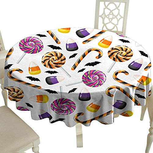 WinfreyDecor Fabric Dust-Proof Table Cover Halloween Sweets Seamless