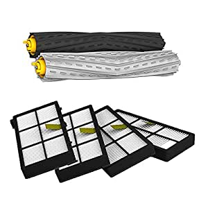 SHP-ZONE Tangle-Free Debris Extractor Set & 4 Hepa Filters replacement For iRobot Roomba 800 series 870 880