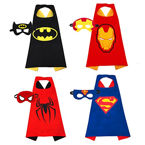 Yoheer(TM) Superhero Costumes Dress Up for Kids , 4 Capes and Masks , Glow Spiderman Logo