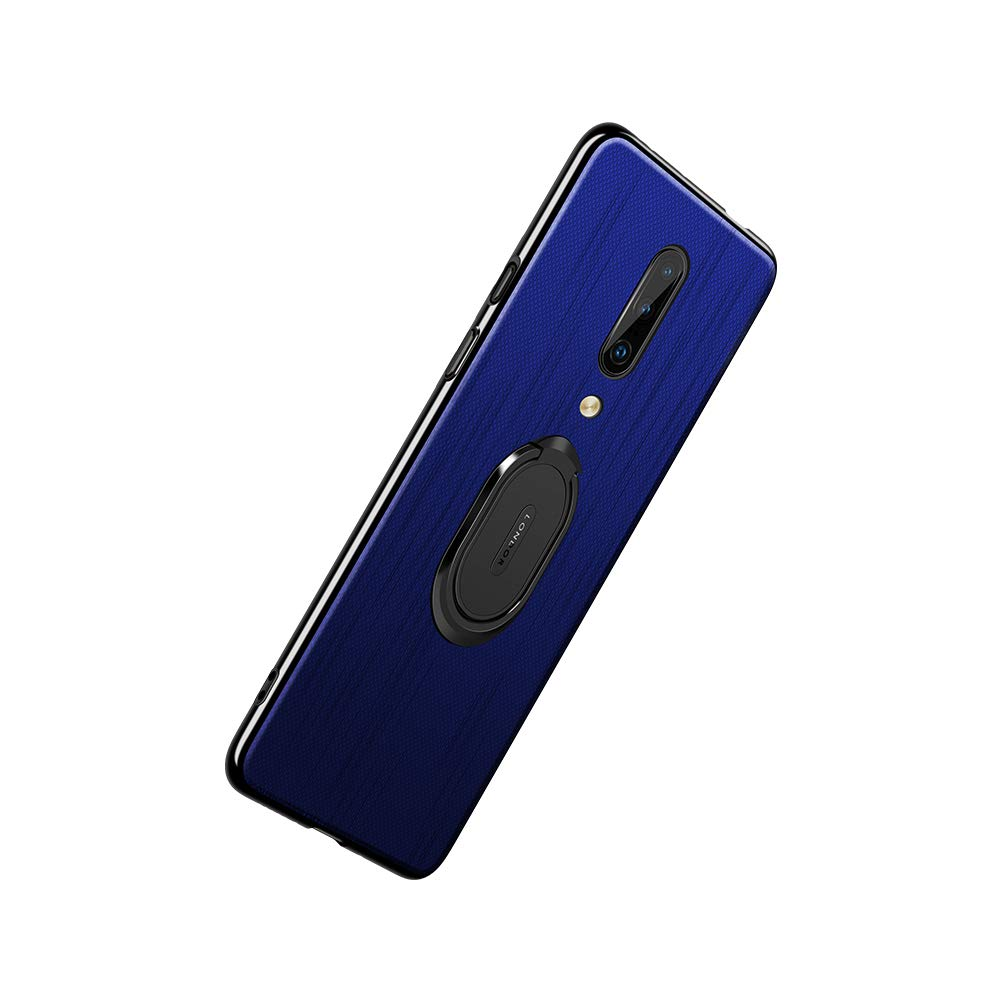 Pacyer Case Compatible with OnePlus 7 Pro Cover, Plaid Cloth TPU Case Cover Rotating Ring Kickstand Compatible with Magnetic Car Mount Function Soft ...