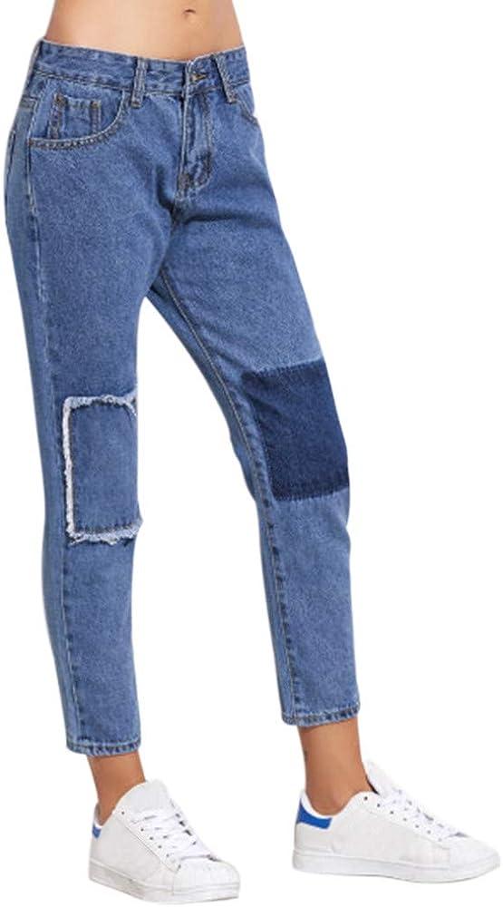 STRIR Mujer Pantalones Vaquero Skinny Empalme Parche Pantalones ...