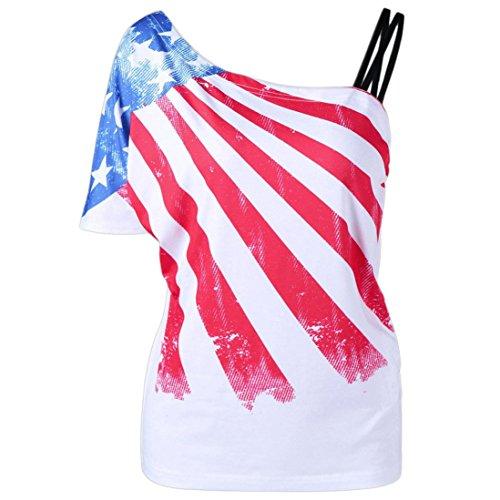 TOPUNDER Women Sexy One Shoulder Tops Skew Collar Patriotic American Flag Printed Blouse