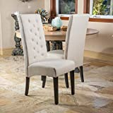 Christopher Knight Home 218853 Darby Natural Linen Dining Chair (Set of 2)