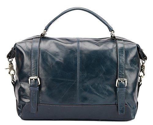 Borgasets Women's Genuine Leather Top Handle Handbag Shoulder Cross Body Bag (blue) Bg76110sblue