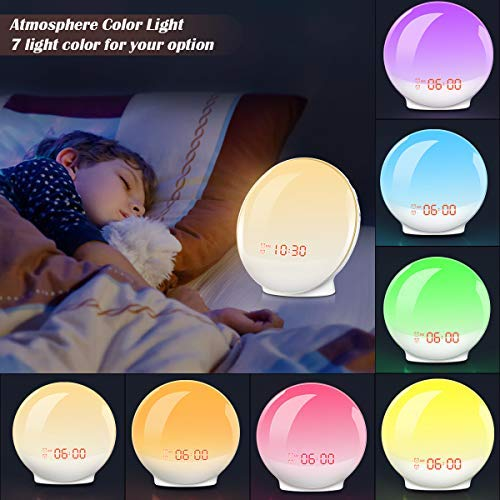 Wake-Up Light, HOKEKI Alarm Clock with 7 Colored Sunrise Simulation and Sunset Fading Night Light & Snooze Feature for Kids Heavy Sleepers, Dual Digital Clock with FM Radio and 7 Natural Sounds by HOKEKI (Image #1)