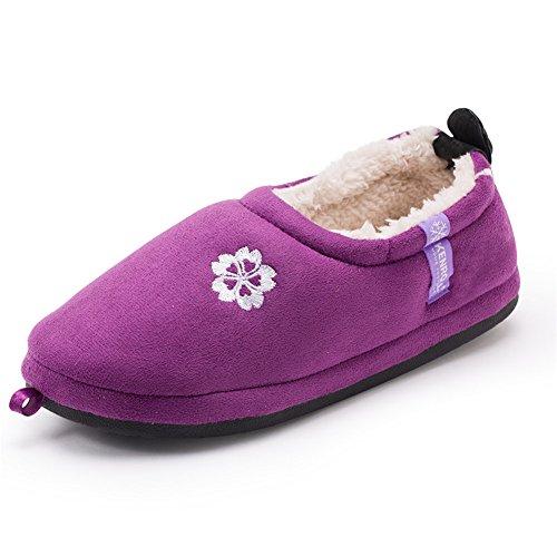 18c4aa65d Kenroll Womens Fleece Lined Cotton Shoes Pull on Slipper (7.5-8