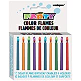 Color Flame Birthday Candles and Holders, 10ct