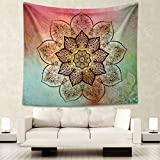 Boho 203CM 153CM Psychedelic Pink Green Corner Floral Tapestry Hippy Mandala Gypsy Wall Hanging Sheet Coverlet Picnic blanket Bedspread Curtain Decor Table Couch Cover Beach Yoga Throw L, P