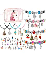 BESTISUR DIY Charm Bracelet Making Kit for Girls Silver Plated Snake Chain Jewelry Making Kit for Teens Christmas Gifts for Girls - 4 Bracelets and 4 Necklaces