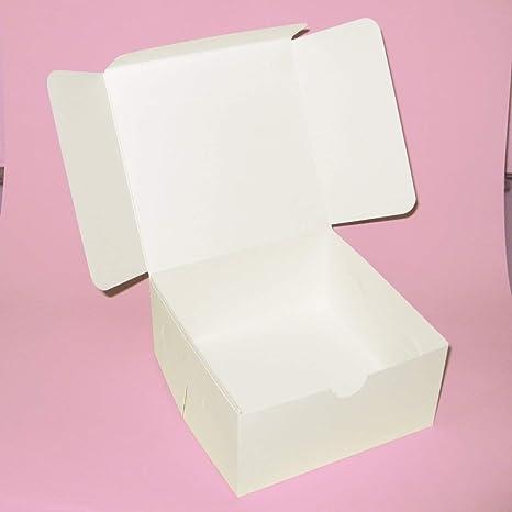 Alexzanderz Color Blanco Cajas de cartón cuadradas para Tartas 6 Caja de Pastel, 6 Pulgadas