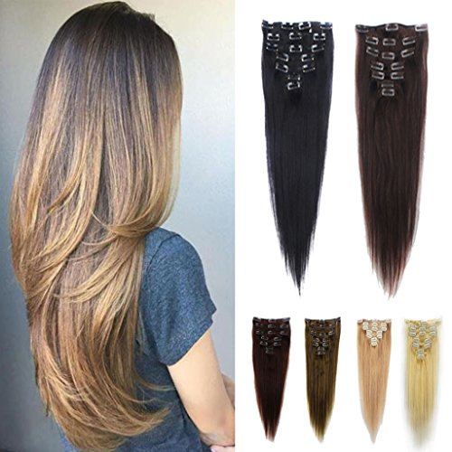 FUT 15 Clips in 7 PCS 3-5 Days Delivery 18inch 70g Straight Full Head Grade 7a in on 100% Remy Human Hair Extensions for Girl Lady Women Platinum Blonde