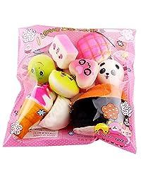 Oksale 10pcs Medium Mini Soft Squishy Bread Toys Key Chain Personality Key Rings
