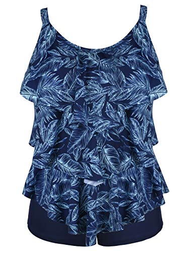 (Septangle Women's Tankini Set Ruffle Swimwear Solid Two Pieces Swimsuit (Blue Leaves Print, US 10))