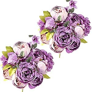 Nubry 2pcs Artificial Peony Silk Flowers Bouquet for Wedding Home Garden Decoration(Purple)