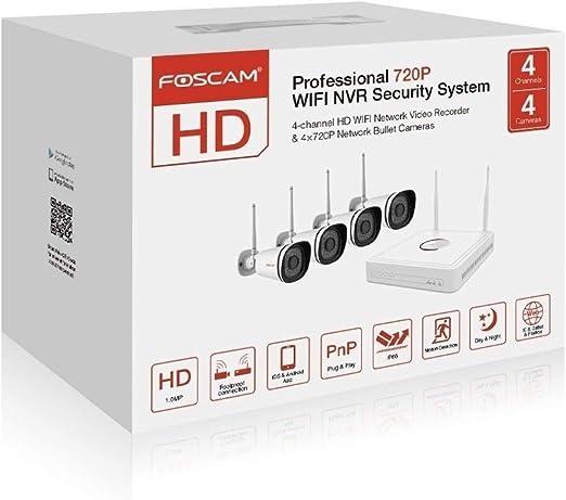 Kit de videovigilancia , 1280 x 720 Pixeles 1//4 Foscam FN3104W Inal/ámbrico y al/ámbrico, Bala, 4 mm, CMOS, 25,4//4 mm